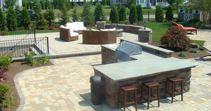 Custom stone patio design built long island ny brick for Small stone patio ideas